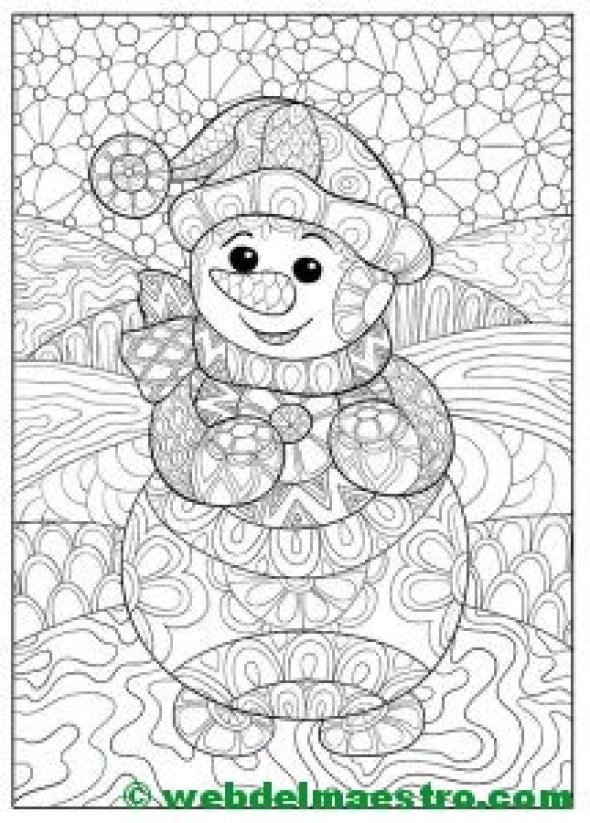 Dibujos navideños originales-Muñeco de nieve