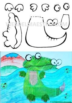 Manualidades con papel de periodico-cocodrilo