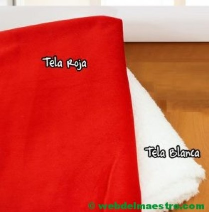 Tela de gorro de navidad roja y blanca