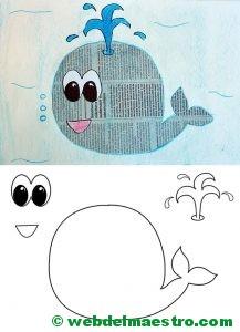 manualidades con papel periodico-ballena