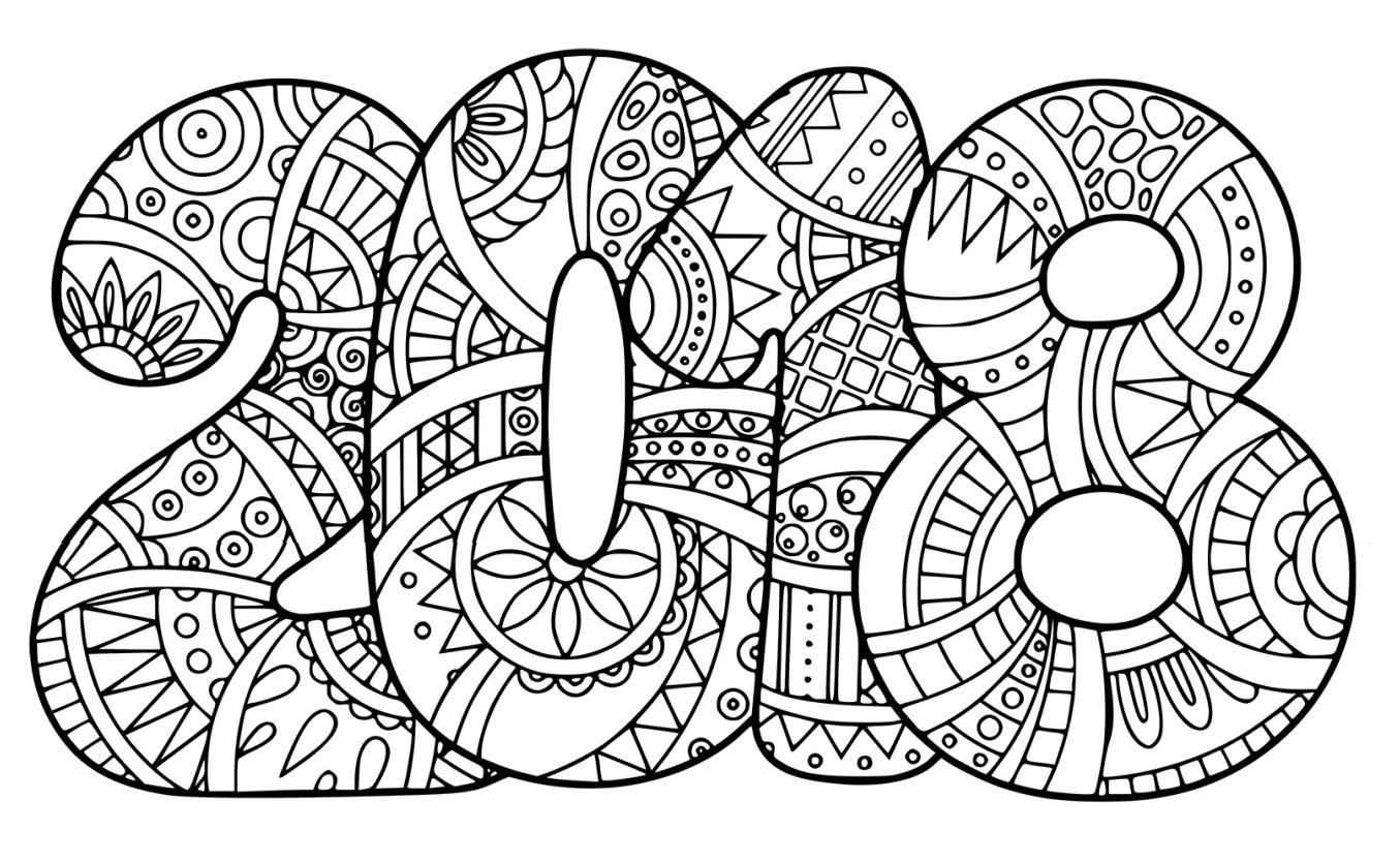 Dibujo de 2018 para colorear - Web del maestro