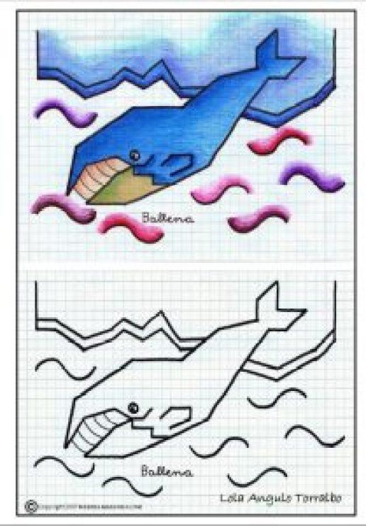 Dibujos de animales en cuadrícula-Ballena