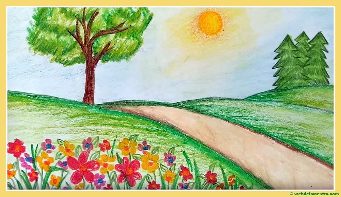 Dibujos Bonitos De Colores: Paisajes Fáciles De Dibujar
