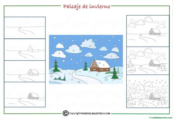 Como dibujar un paisaje de invierno para niños