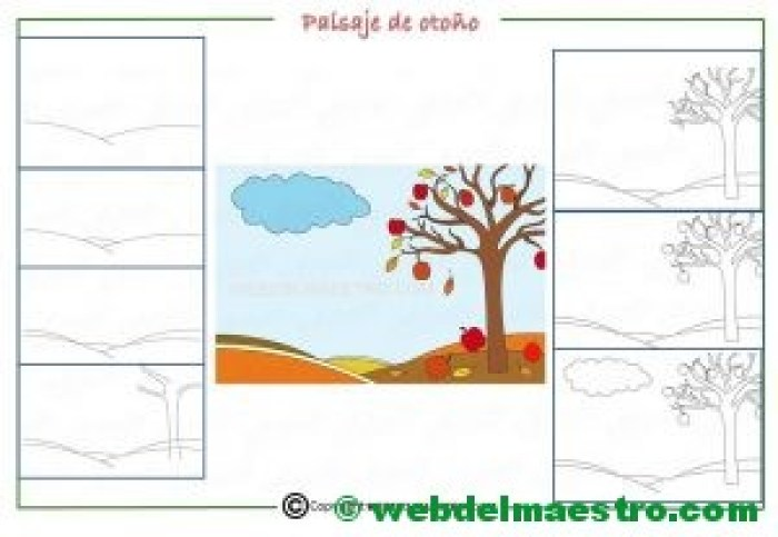 Como dibujar un paisaje de otoño para niños