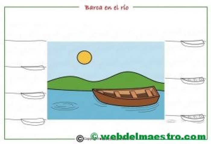 Como dibujar un paisaje de río para niños