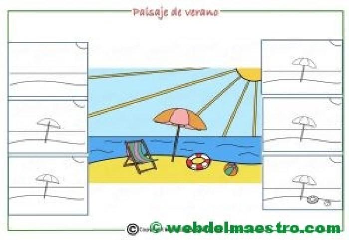 Como dibujar un paisaje de verano para niños