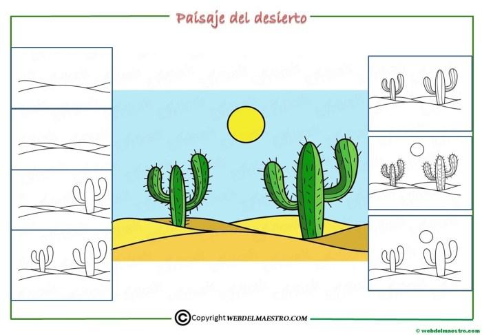 Como dibujar un paisaje del desierto para niños