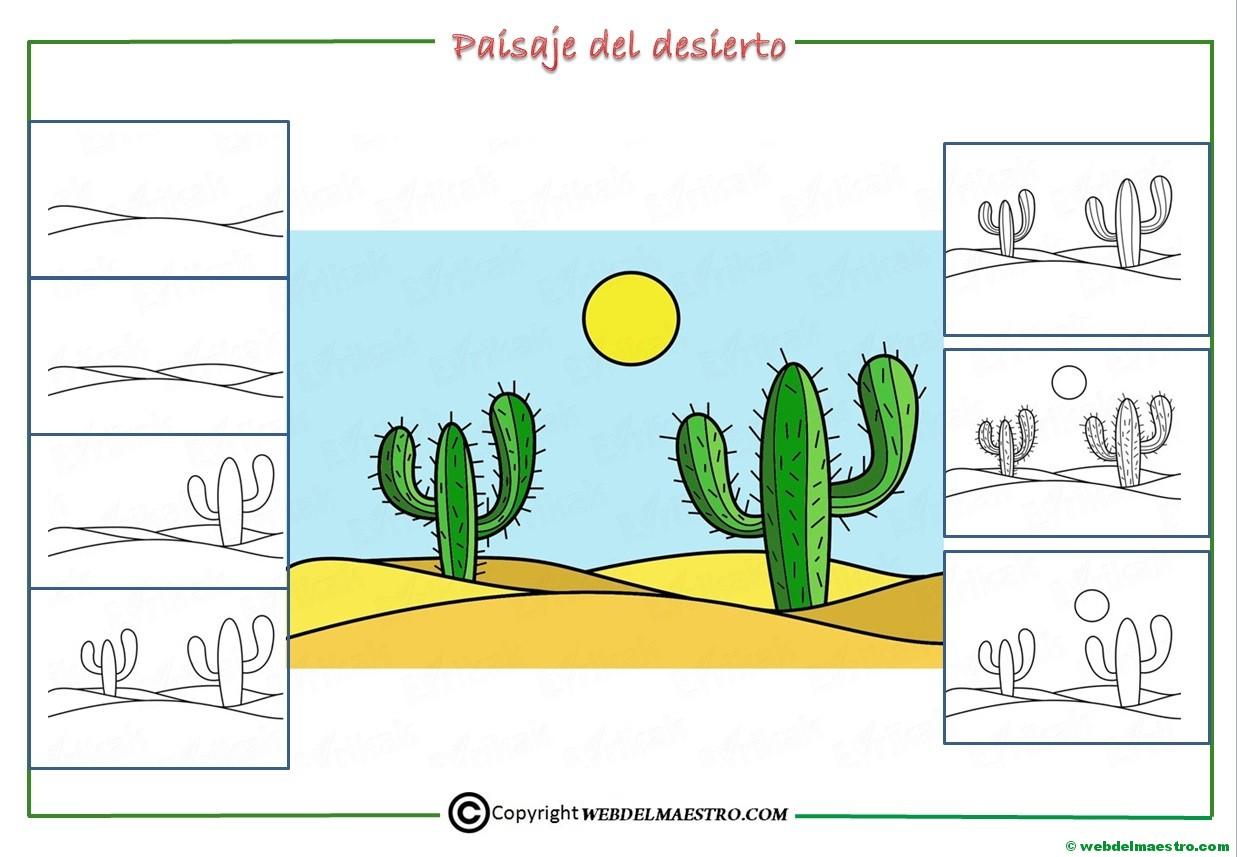 Como dibujar un paisaje del desierto para niños - Web del maestro