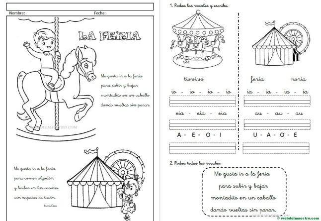 Fichas de lectoescritura-Las vocales-Letra cursiva