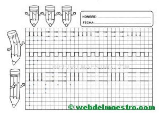 Grafomotricidad-Trazos en cuadricula-Ficha nº 1