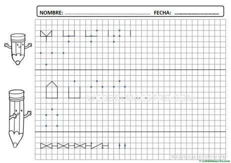 Grafomotricidad-Trazos en cuadricula-Ficha nº 4