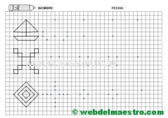 Grafomotricidad-Trazos en cuadricula-Ficha nº 9