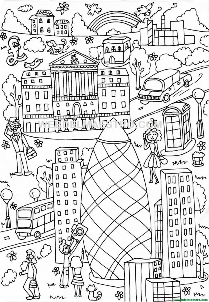 Póster Gigante Para Colorear De Londres Gratis Web Del Maestro