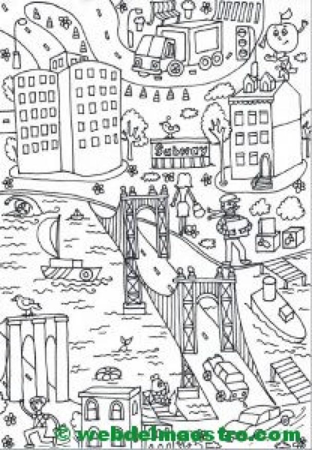 Póster gigante para colorear de Nueva York-puente de Manhattan