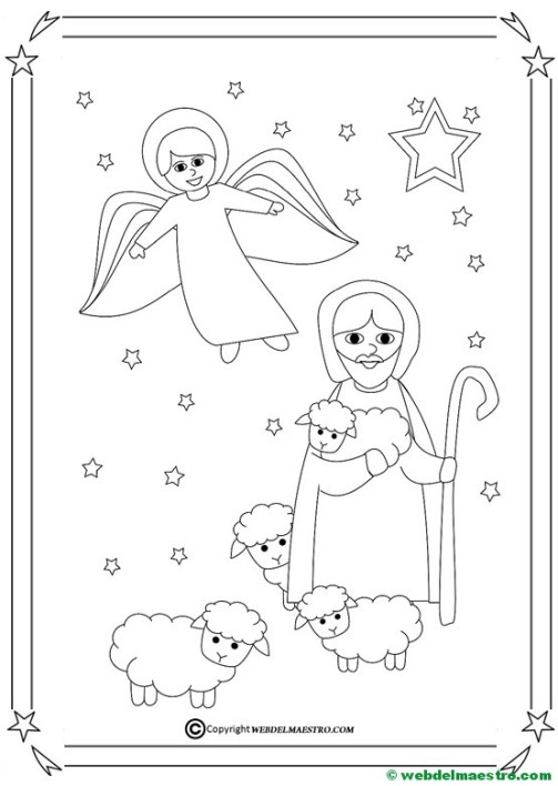 Dibujo de angel y pastor con rebaño