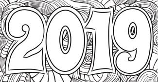 Dibujo para colorear de 2019--