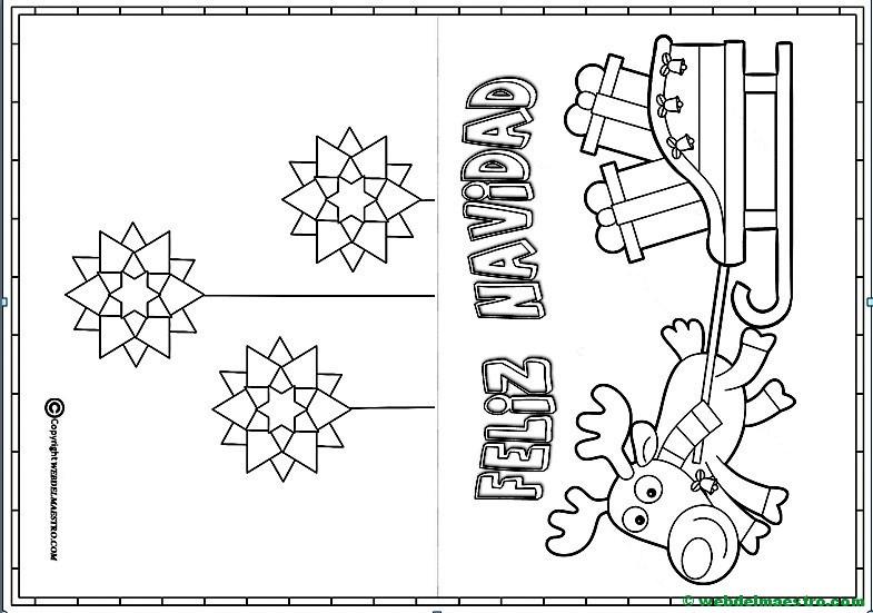 Tarjeta De Navidad Para Colorear Con Reno Web Del Maestro