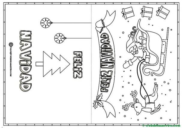 Tarjeta de Navidad para colorear de Papa Noel