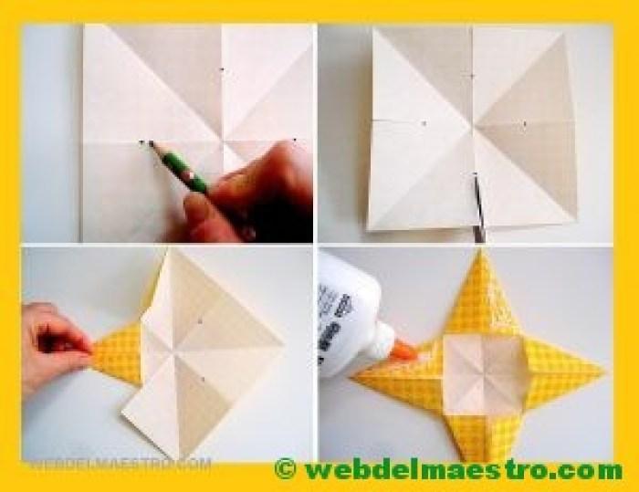 estrellas de papel para navidad-pasos 4, 5, 6 y 7