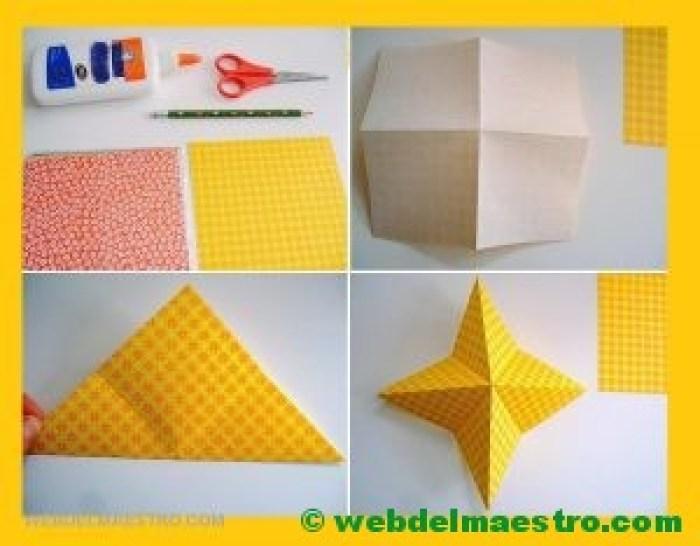 pasos 1, 2 y 3-estrellas de papel para navidad