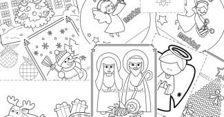 postales y dibujos navideños para imprimir y colorear