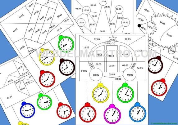 Ejercicios para aprender las horas para imprimir