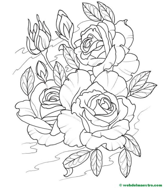 colorear dibujo de rosas-3