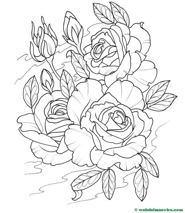 Colorear Dibujo De Rosas 3 Web Del Maestro