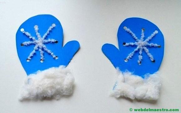 manoplas de cartulina con lana y algodón