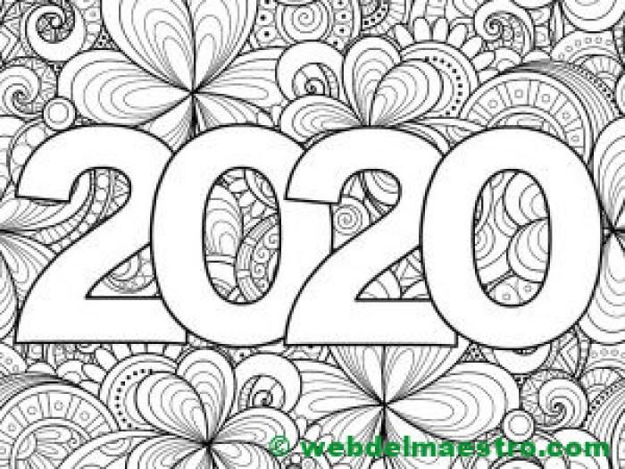 14. Dibujo de 2020 para colorear-
