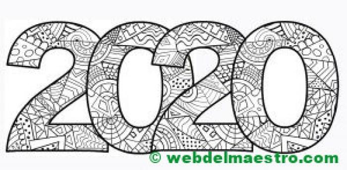 17. Dibujo de 2020 para colorear