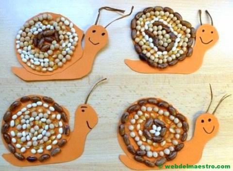 Caracoles realizados con legumbres