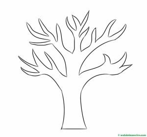 Dibujo de árbol- tronco con ramas