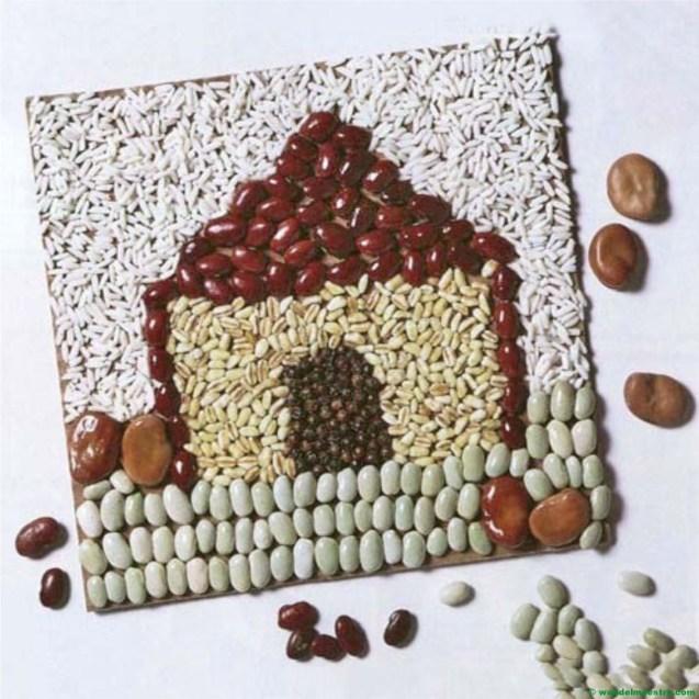 casa realizada con legumbres