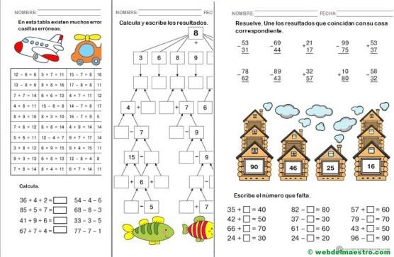 Fichas de matemáticas para primero de Primaria-Serie 2