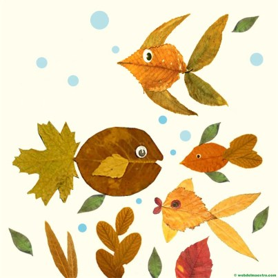 acuario con hojas de árbol