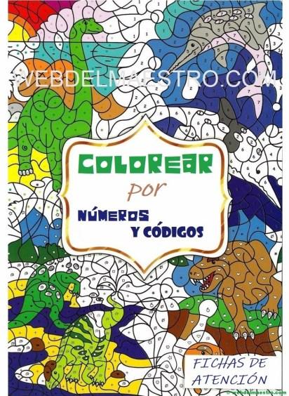 colorear dinosaurios por numeros y códigos