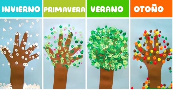 Árboles-estaciones del año con pintura a dedo