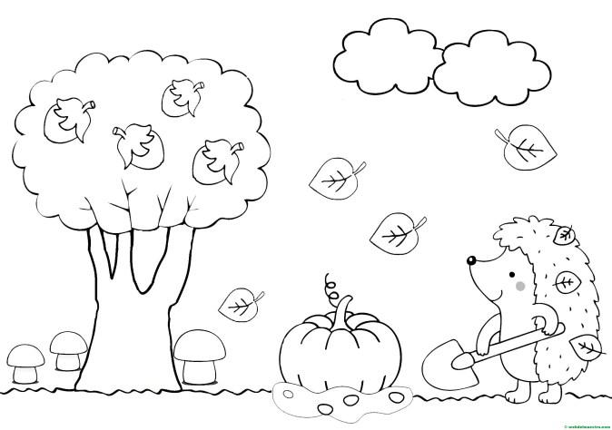 dibujo para colorear del otoño