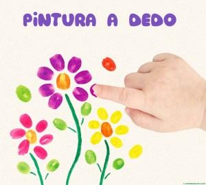 pintar con los dedos flores