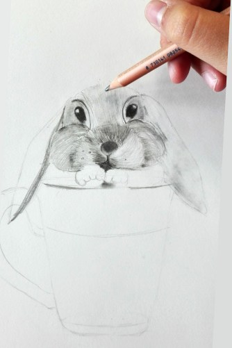 sombreando un dibujo antes de difuminar