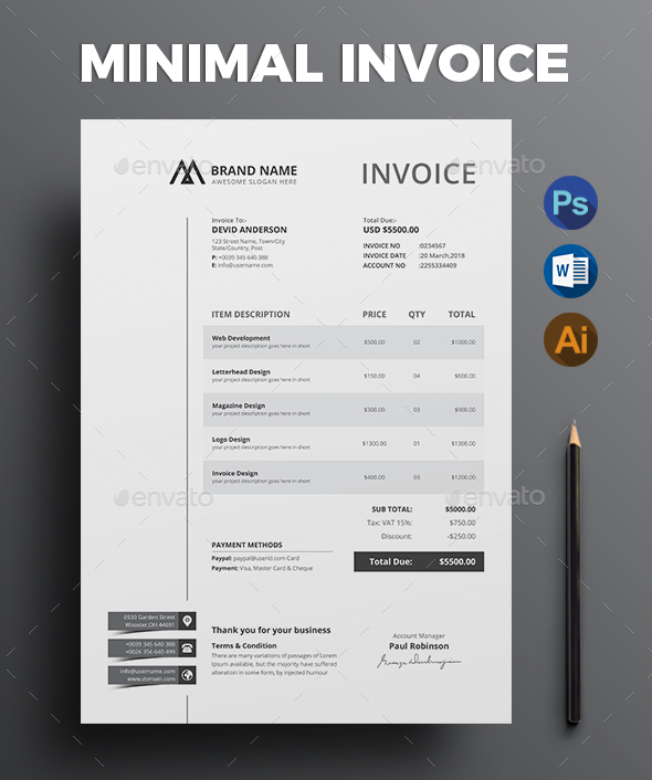 63  Invoice Design Templates 2018  PSD  Word  Excel  PDF  InDesign  Commercial Invoice Template