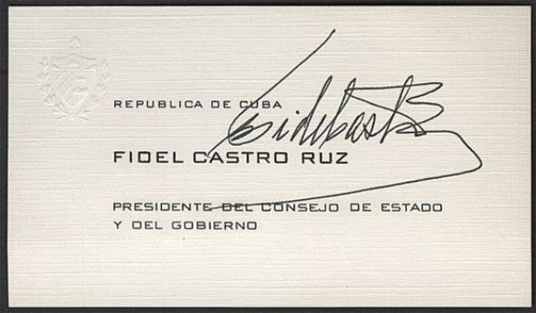 Fidel Castro's Business Card