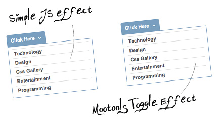 Two CSS vertical menu with show/hide effects