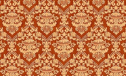 Orange Damask Wallpaper