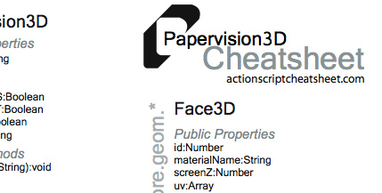Papervision 3D Cheatsheets