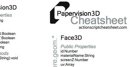 Papervision 3D Cheatsheets