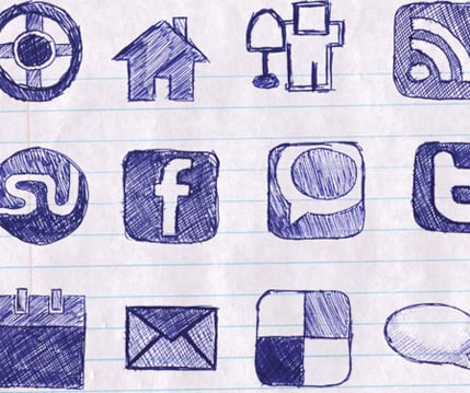Free Hand Drawn Doodle Icon Set for Bloggers