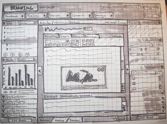sketched wireframes
